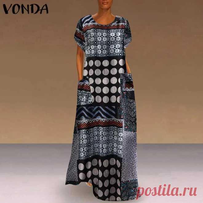 Модное осеннее платье VONDA, женские платья с круглым вырезом, лоскутный сарафан, повседневное винтажное платье с принтом, платье из хлопка и льна, сарафаны Платья    АлиЭкспресс