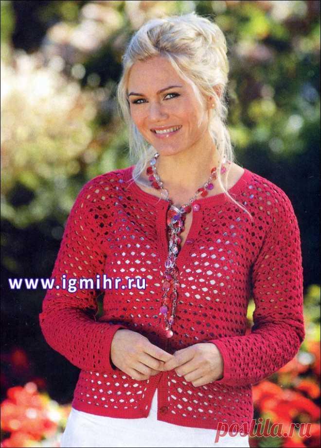 Красный ажурный жакет от финских дизайнеров. Крючок. / igmihr.ru
