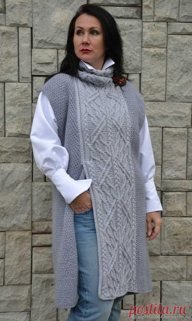 59982010d0b Вязаная длинная безрукавка-платье из шерсти