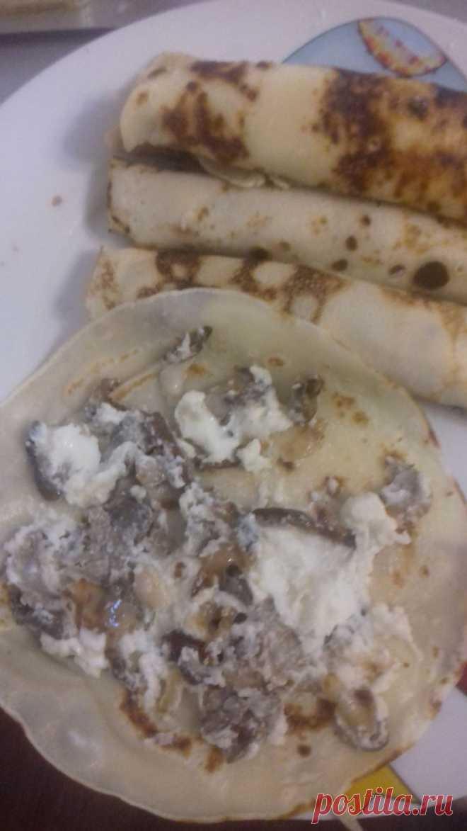 Блинчики с сыром и грибами - Простые рецепты Овкусе.ру