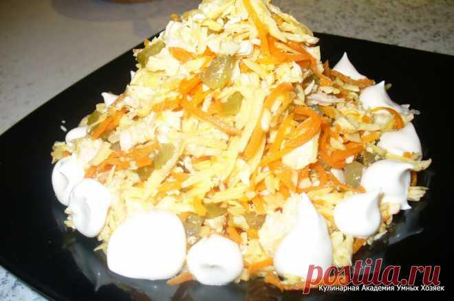 Кулинарная Академия Умных Хозяек: Салат с курицей и корейской морковью «Лисичка»