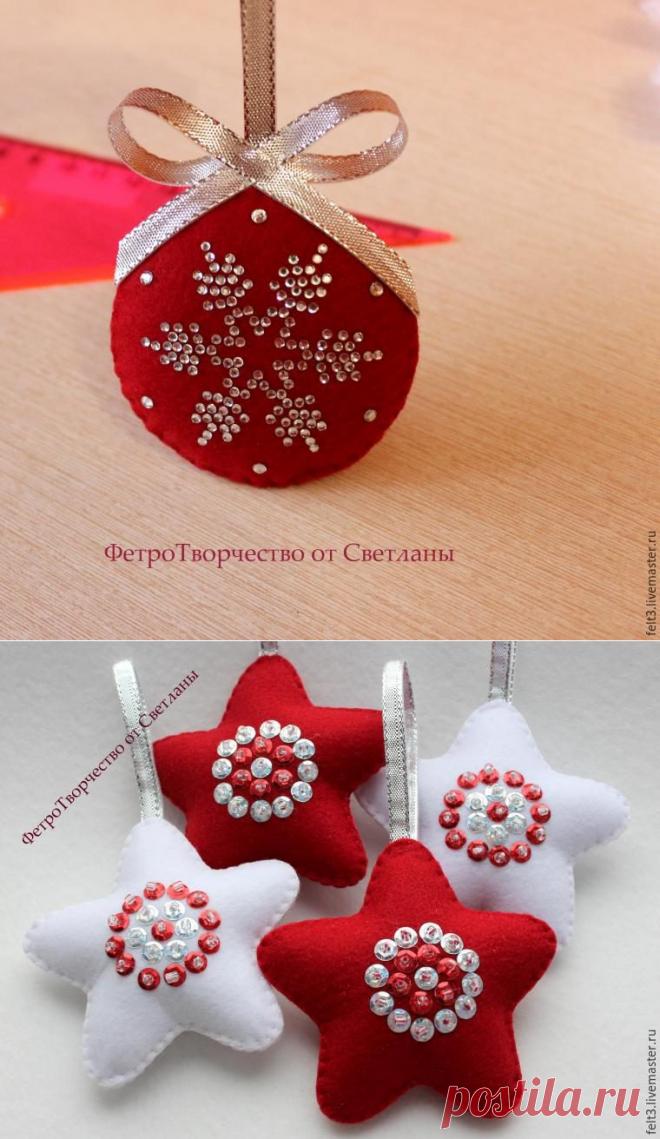 Los juguetes de fieltro del árbol de Noel