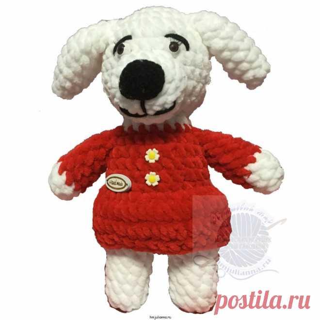 Мягкая игрушка собачка в платье ручной работы, 25 см.Плюшевый мир Мастерская игрушек Анны Ганоцкой