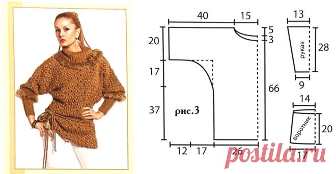 Женственные модели вязаных изделий с подробной разборкой вязания. Кофта с баской и туника   Пряжемания   Яндекс Дзен