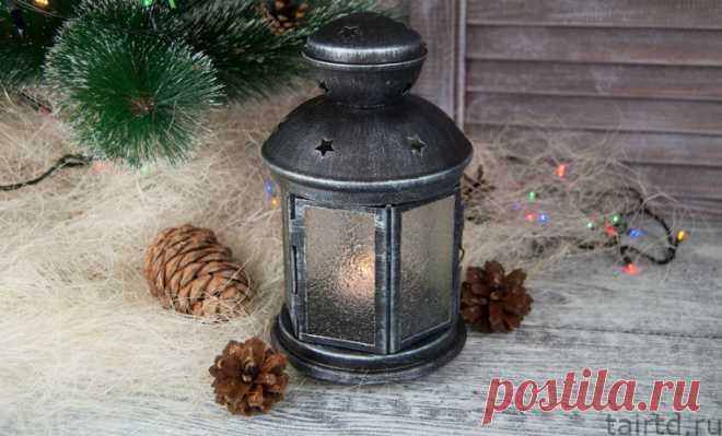 Простой новогодний фонарик - мастер-класс по декору фонаря из Икеи
