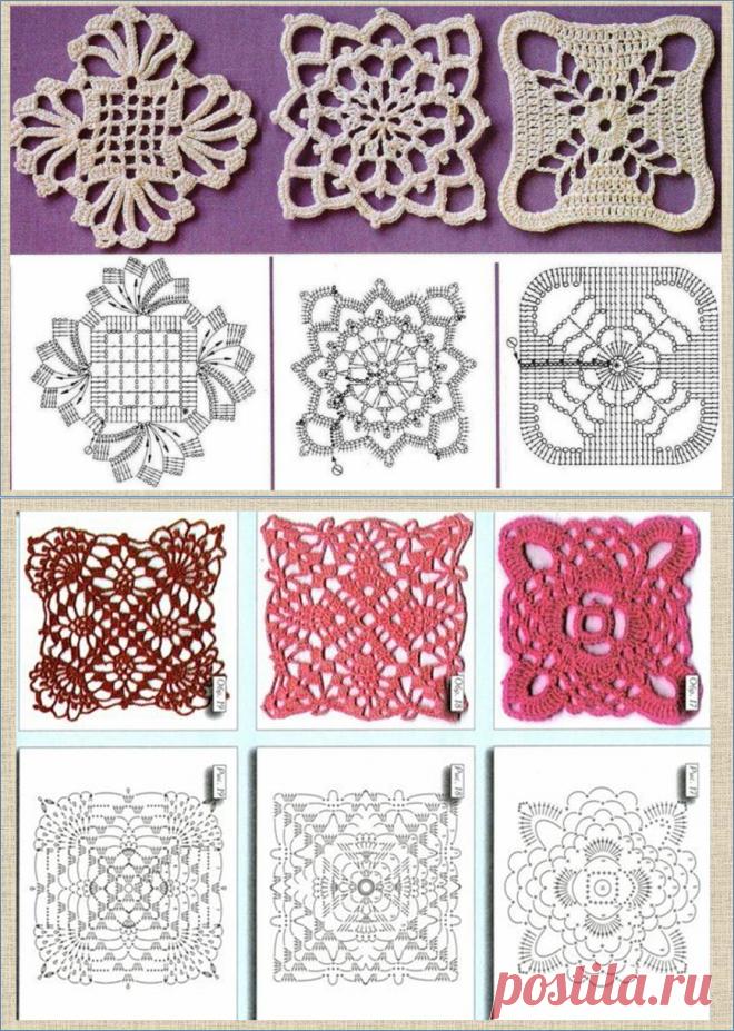 Еще 60 интересных схем квадратных мотивов для вязания крючком - в ваши копилочки | МНЕ ИНТЕРЕСНО | Яндекс Дзен