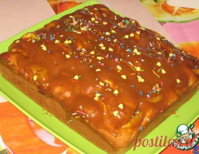 Молочный пирог с яблоками в карамельной заливке – кулинарный рецепт