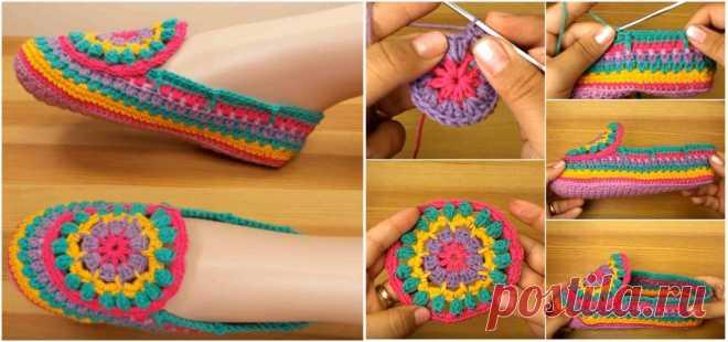 Связанные крючком разноцветные тапочки - Идеи для поделок