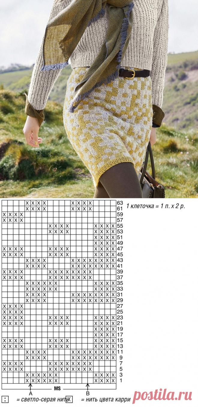 Вяжем юбку в жаккардовой технике | Рукоделие