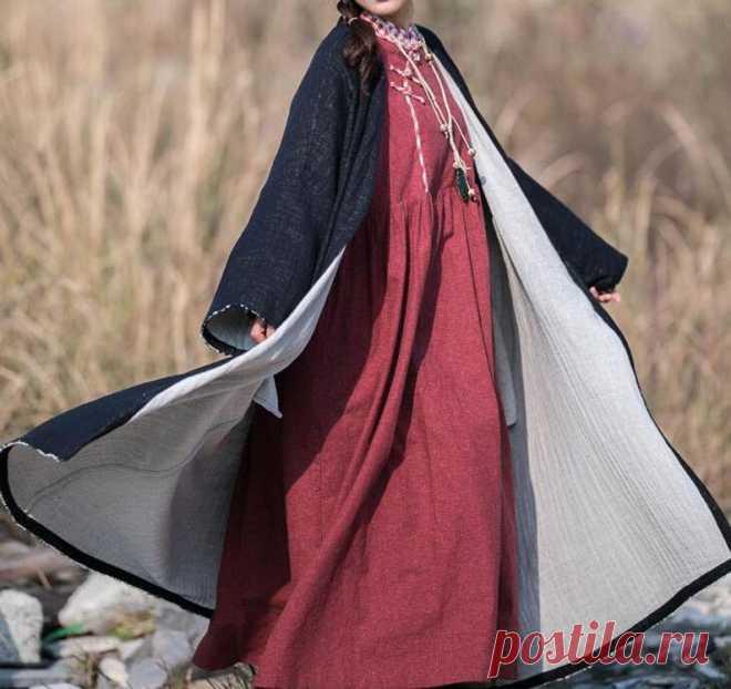 Women long coat Cotton linen long Windbreaker Women's | Etsy