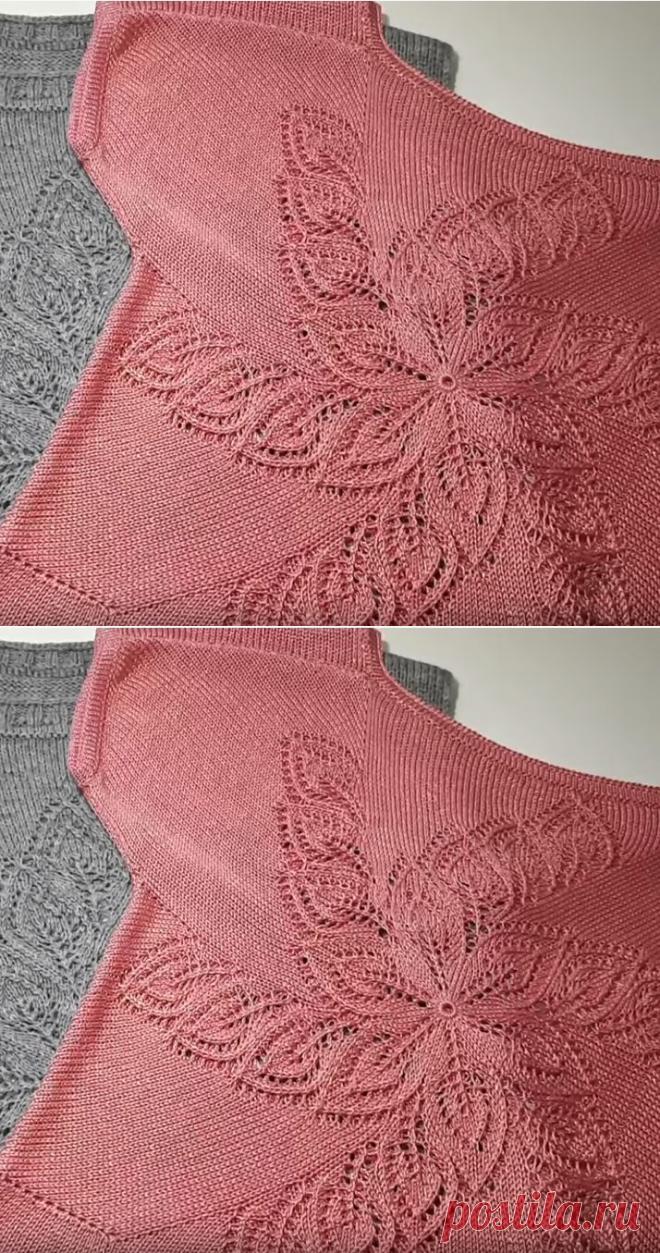 Топ с ажурным цветочным узором (Вязание спицами) – Журнал Вдохновение Рукодельницы