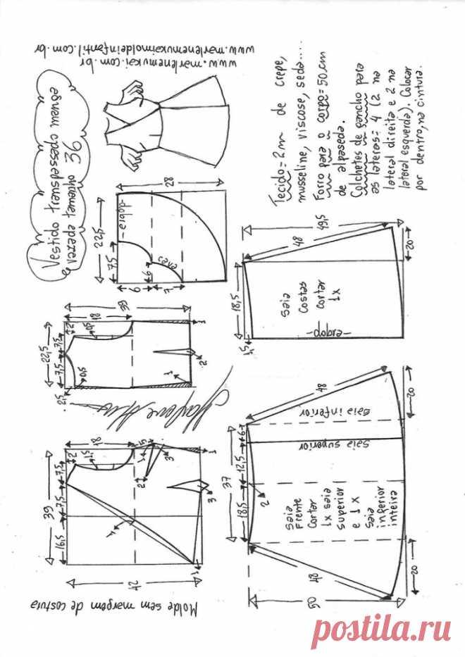 Выкройка платья с запахом и открытыми плечами (Шитье и крой) — Журнал Вдохновение Рукодельницы