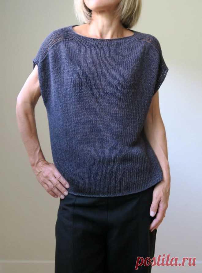 Вязание спицами модной женской безрукавки Construction Zone