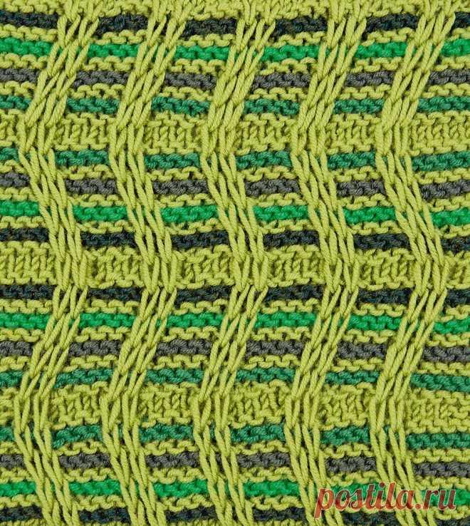 Волнообразный узор с вытянутыми петлями - схема вязания спицами с описанием на Verena.ru