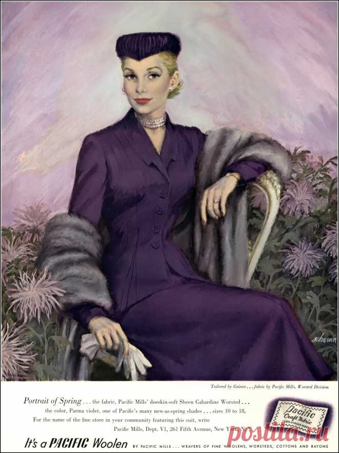 Elegantly tailored Pacific woolen suit by Gaines, illustrated by Barbara Schwinn, Vogue, January 1, 1951