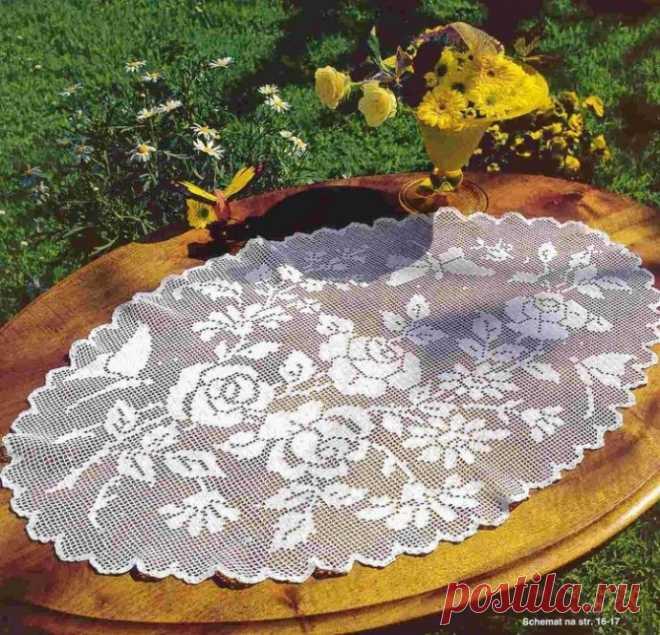 Овальная салфетка с розами и бабочками, вяжем крючком