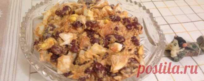 Салат с красной фасолью в томате - Диетический рецепт ПП с фото и видео - Калорийность БЖУ