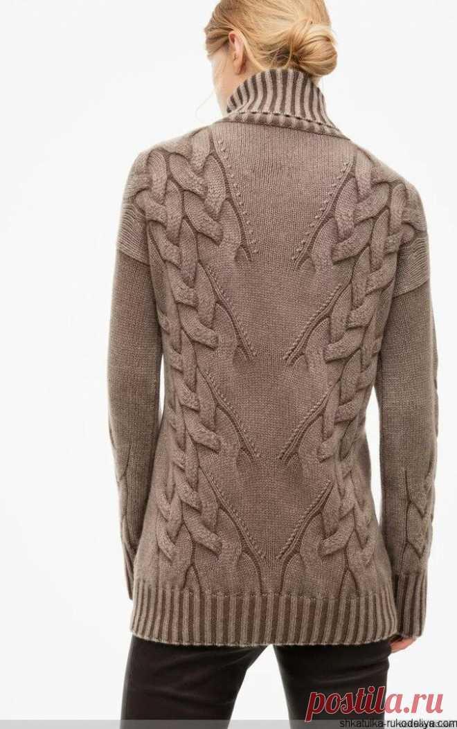 свитер спицами узором елочка модные вязаные свитера 2017 шкатулка