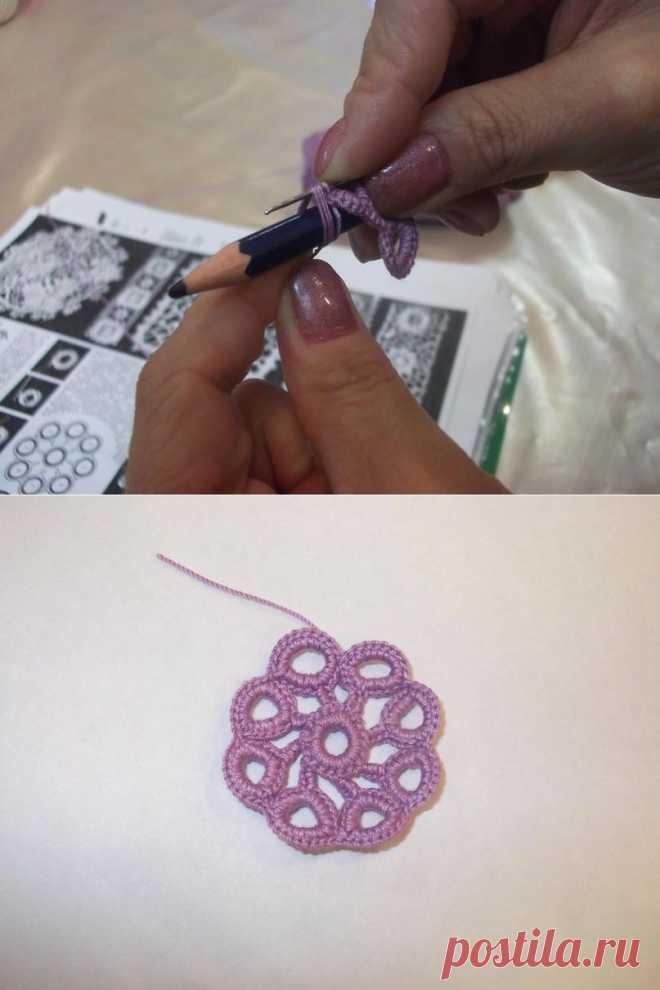 Вывязывание объемных колечек в технике ирландского кружева - Ярмарка Мастеров - ручная работа, handmade