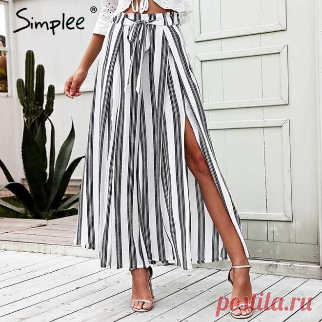 Женские широкие брюки Simplee в полоску,свободные хлопчатобумажные штаны с высокой талией и разрезами на боках, летние эластичные белые тканые брюки больших размеров |Брюки