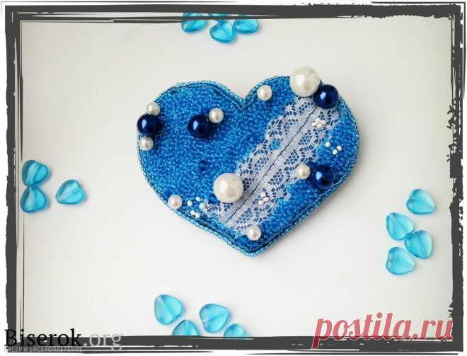 Заколка для волос «Ледяное сердце» Валентинки из бисера – Бисерок Как сделать красивую заколку из бисера в виде сердца, сделанную своими руками. Мастер-класс.