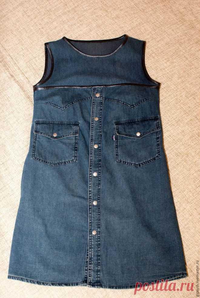 Платье из джинсовой рубашки (Diy)