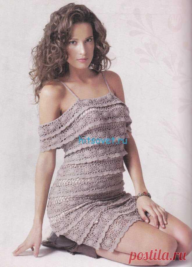 Вязание платья крючком схема - Хитсовет Вязание платья крючком схема. Для вязания платья Вам потребуется: пряжа BAMBOO FINE цвет бежевый (167) 5 мотков, крючок №1,5.