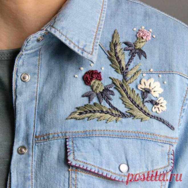 Как вышить джинсовую куртку