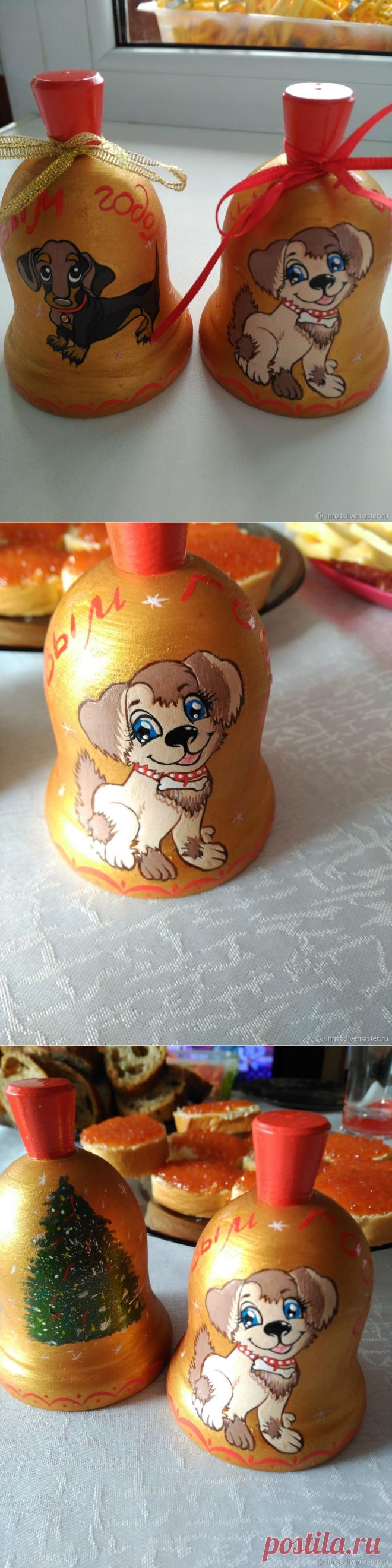 Купить Колокольчик символ года 2018 с собакой в интернет магазине на Ярмарке Мастеров
