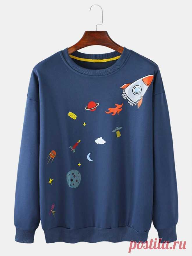 Mens Cartoon Rocket Print Round Neck Long Sleeve Cute Pullover Sweatshirts - US$22.99