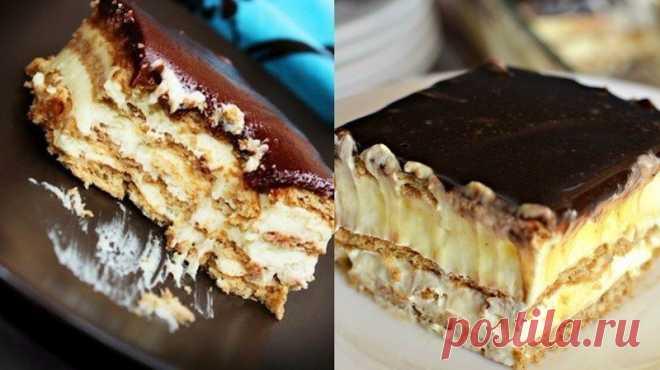 Как приготовить торт-эклер из печенья без выпечки - рецепт, ингредиенты и фотографии