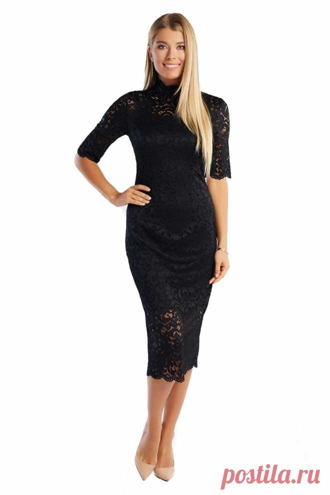 8528e3cb06c Черное платье из гипюра LalaStyle 1362 Стильные черные женские платья из  гипюра