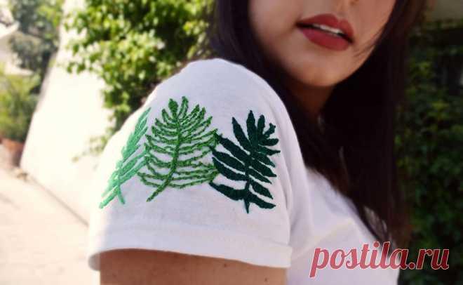 20 идей ручной вышивки на футболке, которые вам захочется повторить — Мастер-классы на BurdaStyle.ru