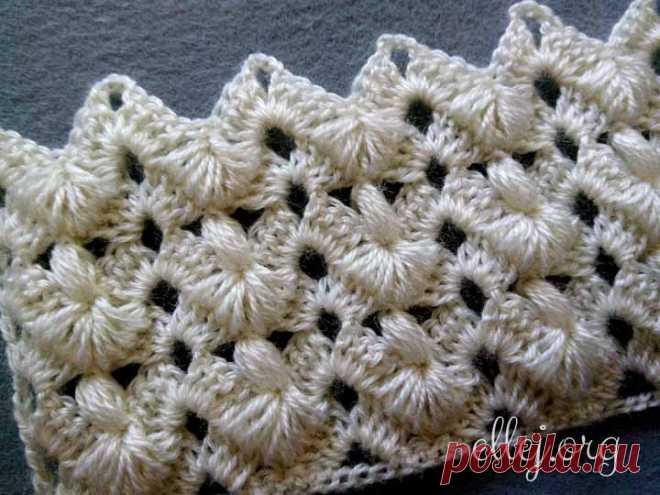 Красивый необычный узор «Сосны» | Вязание крючком от Елены Кожухарь