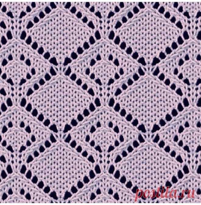 Ажурный узор спицами 🌸 Схемы для кругового и поворотного способа вязания.