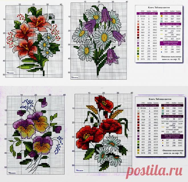 Вышивка цветов крестиком — Сделай сам, идеи для творчества - DIY Ideas