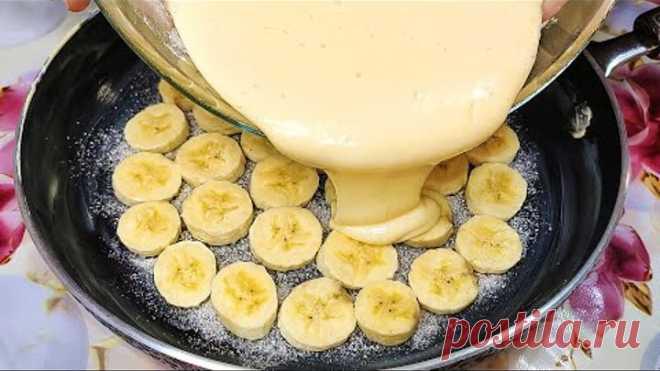 Готовь хоть с яблоками, хоть с бананами! ПИРОГ на сковороде, он просто тает во рту!