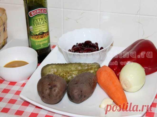 Постный салат с фасолью и овощами: рецепт с фото