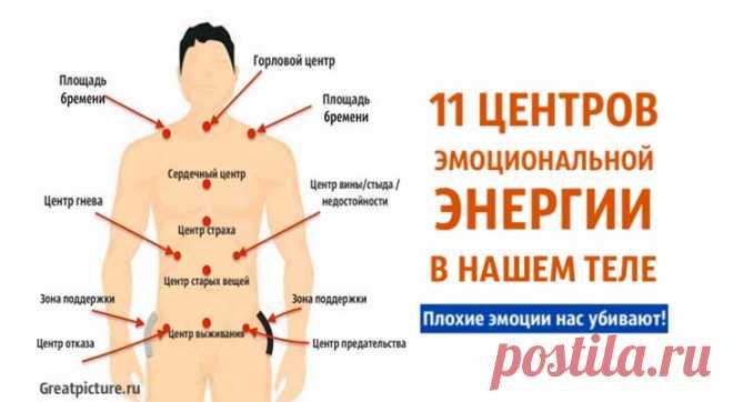 11 центров эмоциональной энергии в нашем теле. Плохие эмоции нас убивают! 11 центров эмоциональной энергии в нашем теле. Плохие эмоции нас убивают!Знание центров эмоциональной энергии тела может помочь вам понять,