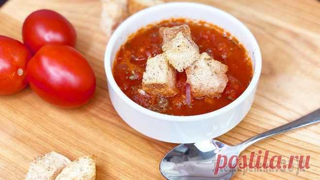 Итальянский томатный суп с сухариками за 20 минут