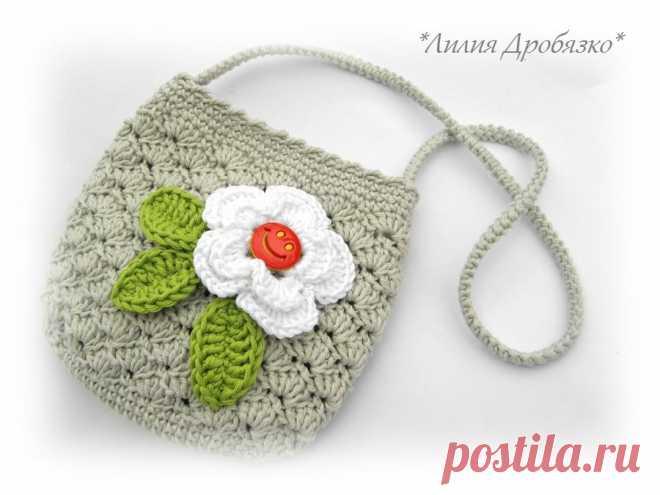 487fa9a7f5d3 Детские сумочки крючком - Цветок крючком, схема для вязания / Цветы из ткани