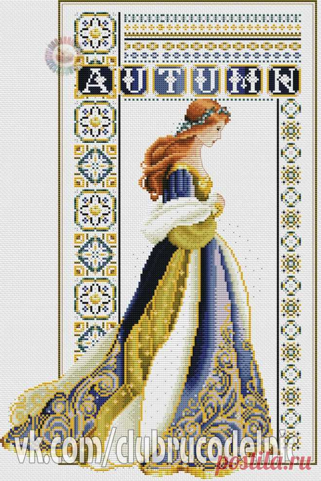 #Времена_года #Люди #вышивка #схемы #рукоделие #handmade #хомячки #clubrucodelnic #осень