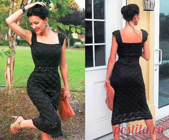 Вязание на спицах - Платье спицами - Маленькое черное платье узором из ромбов