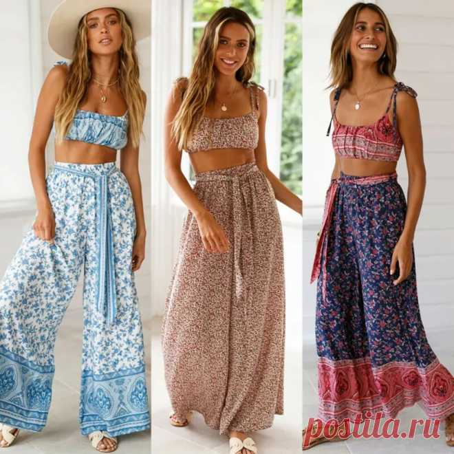 Женские широкие брюки Hirigin, свободные повседневные пляжные брюки в стиле бохо с принтом и эластичным поясом, праздничная одежда для лета | Брюки |