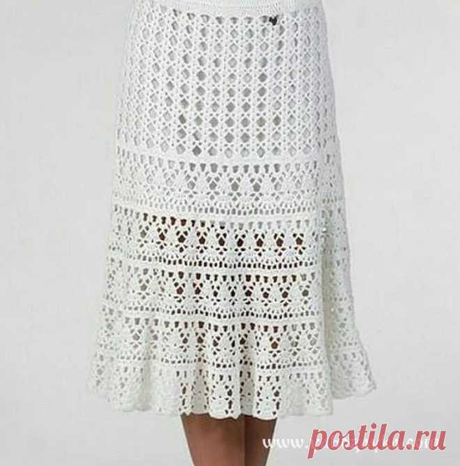 6df759eceb5 Белая юбка крючком схемы. Красивая модель летней юбки крючком со схемами.