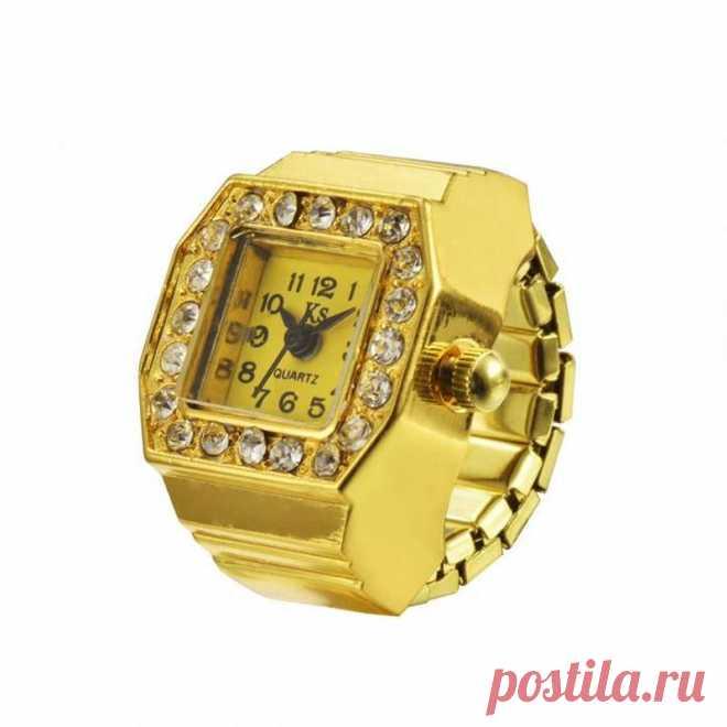 Часы-кольцо-перстень женские со стразами в золотых тонах за 156 грн. | Шафа