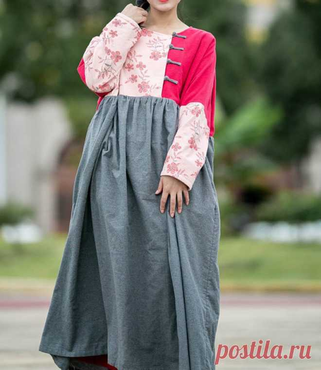 Loose boho Maxi dress Women Oversized Dress longsleeve | Etsy