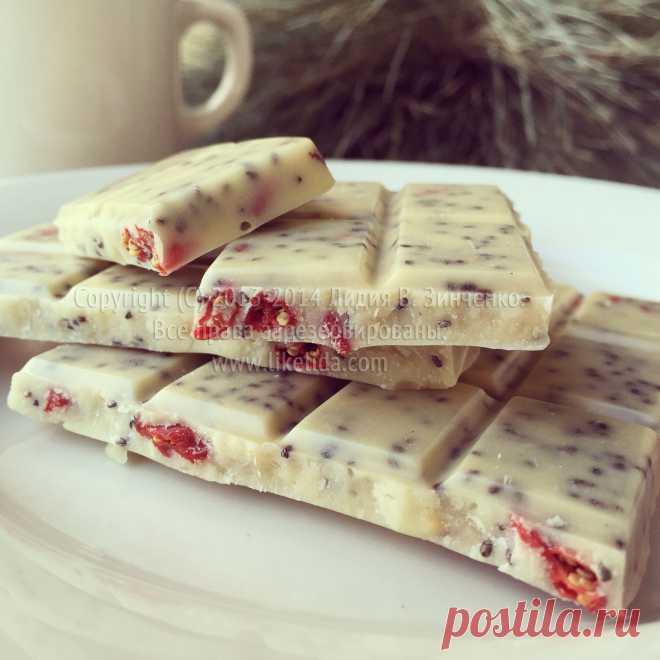 Веганский белый шоколад с семенами и ягодами