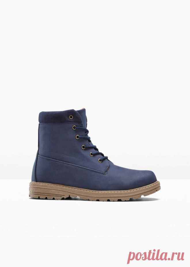 Классические ботинки на шнуровке подходят для активного отдыха на свежем воздухе - тёмно-синий