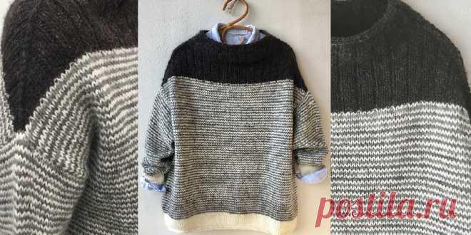 Пуловер оверсайз Origami Пуловер оверсайз в полоску с широкой кокеткой вязаный спицами контрастным миксом прямых линий и мягких форм тела создает лаконичный, модный и непринужденный оверсайз.
